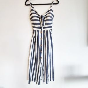 Blue and white striped Italian summer dress